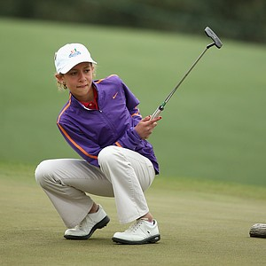 Keira Jones of Georgia reacts after narrowly missing a putt during the girls' 10-11 division of the National Finals of the Drive, Chip and Putt Championship at Augusta National.