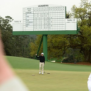 Patrick Welch (Boys 14-15) celebrates after winning in his age group during the National Finals of the 2014 Drive, Chip and Putt Championships at Augusta National Golf Club.