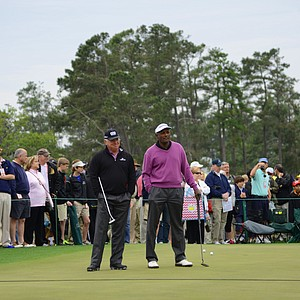Former Masters champions Mark O'Meara and Vijay Singh both take in the Drive, Chip & Putt National Championships at Augusta National on Sunday morning.
