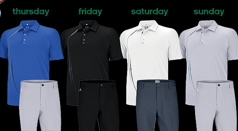 Dustin Johnson's apparel from Adidas Golf for the 2014 Masters.