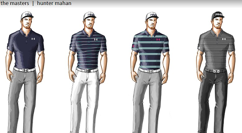 Hunter Mahan's scripted apparel from Under Armour for the the 2014 Masters.