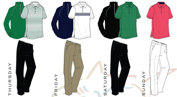 John Senden's scripted apparel from the Greg Norman Collection for the 2014 Masters.