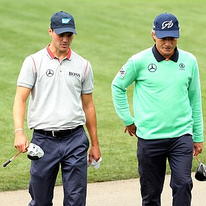 Martin Kaymer and Bernhard Langer during Tuesday's practice round at the 2014 Masters.