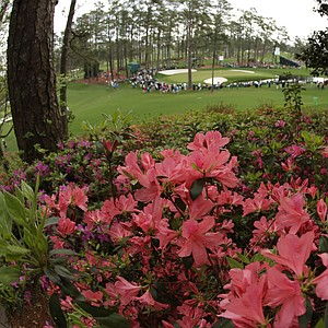 A view of the 16th green during a practice round for the Masters Tuesday at Augusta (Ga.) National Golf Club.