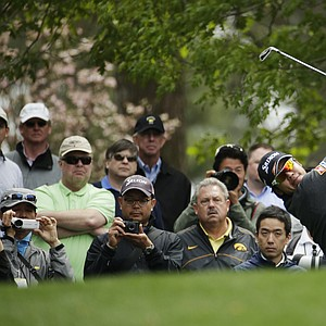 Hideki Matsuyama during a practice round for the Masters Tuesday at Augusta (Ga.) National Golf Club.