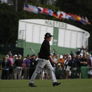 Jason Dufner during a practice round for the Masters Tuesday at Augusta (Ga.) National Golf Club.