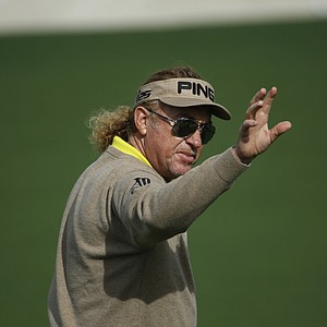 Miguel Angel Jimenez during a practice round for the Masters Tuesday at Augusta (Ga.) National Golf Club.