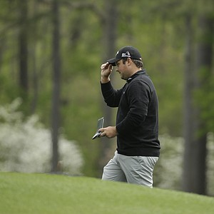 Patrick Reed during a practice round for the Masters Tuesday at Augusta (Ga.) National Golf Club.