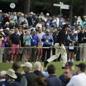 Phil Mickelson during a practice round for the Masters Tuesday at Augusta (Ga.) National Golf Club.