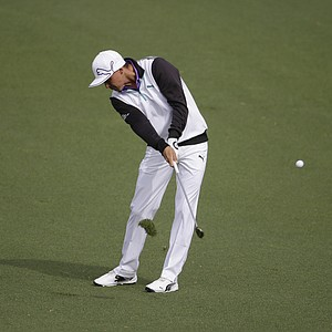 Rickie Fowler during a practice round for the Masters Tuesday at Augusta (Ga.) National Golf Club.