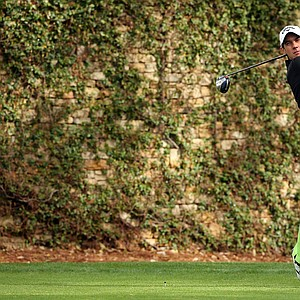 Matteo Manassero during Tuesday's practice round at the 2014 Masters.