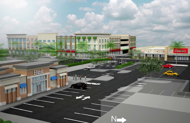Proposals by developers for Maitland's new downtown  include plans for a specialty grocer and a drive-through bank.