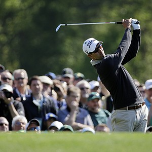 Adam Scott during a practice round for the Masters Wednesday at Augusta (Ga.) National Golf Club.