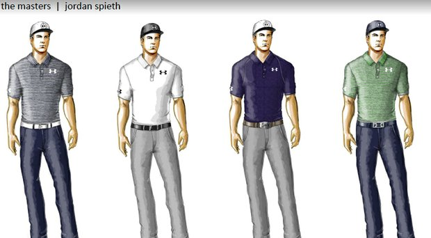 Jordan Spieth's Under Armour scripted apparel for the 2014 Masters.