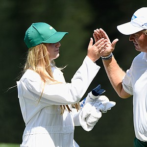Ernie Els with daughter Samantha during Wednesday's Par-3 Contest at Augusta National on the eve of the Masters.