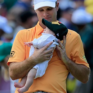 Kevin Streelman with daughter Sophie during Wednesday's Par-3 Contest at Augusta National on the eve of the Masters.