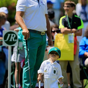 Ryan Moore with son Tucker during Wednesday's Par-3 Contest at Augusta National on the eve of the Masters.