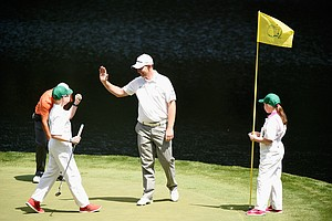 Stephen Gallacher with son Jack and daughter Ellie during Wednesday's Par-3 Contest at Augusta National on the eve of the Masters.