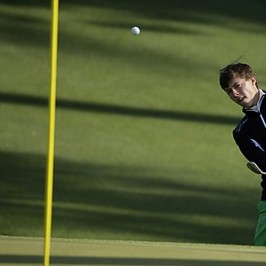Matthew Fitzpatrick during a practice round for the Masters Wednesday at Augusta (Ga.) National Golf Club.