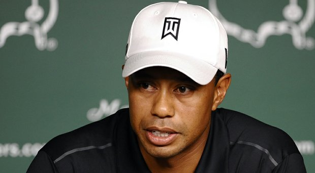 Tiger Woods during a 2012 news conference at Augusta National.