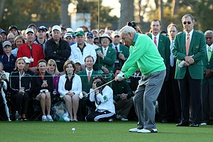Arnold Palmer during the ceremonial tee shots to start Thursday's first round of the 2014 Masters at Augusta National.