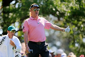Miguel Angel Jimenez during Thursday's first round of the 2014 Masters at Augusta National.