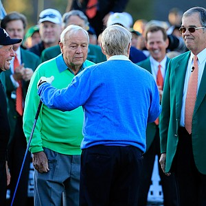 Gary Player (from left), Arnold Palmer, Jack Nicklaus and Billy Payne gather for the ceremonial tee shot to start Thursday's first round of the 2014 Masters at Augusta National.