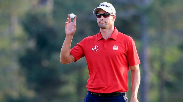 Defending Masters champion Adam Scott will tee off with 20-year-old Jordan Spieth at 2:25 p.m. ET for Saturday's third round at Augusta National.