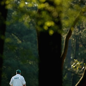 Lucas Glover's caddie during Friday's second round of the 2014 Masters at Augusta National.