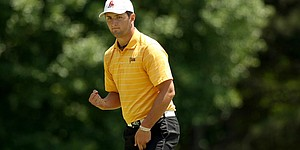 Ringler's walk with Jon Rahm at Western Intercollegiate