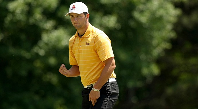 Arizona Sate's Jon Rahm leads the nation in eagles made this season with nine.