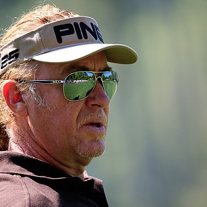 Migel Angel Jimenez during Saturday's third round of the 2014 Masters at Augusta National.