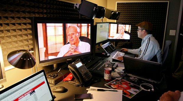 Izzy DeHerrera works on the Golf Channel's Arnold Palmer documentary.