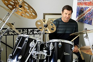 Nick Faldo at his home in Winter Park, Fla. Faldo says he's more of a 36-handicap on the drums, but enjoys the set as an art piece.