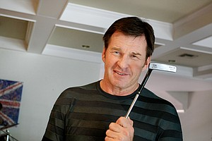 Nick Faldo holds his TaylorMade TPAXVIII putter he used in the final round of his 1989 Masters victory.