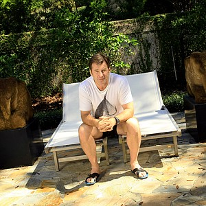 Nick Faldo in relaxation mode before is Champions Tour debut at his home in Winter Park, Fla.