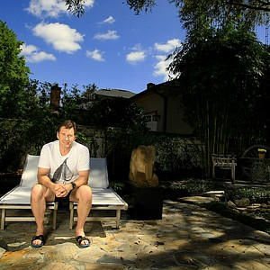 Nick Faldo relaxes at his home in Winter Park, Fla. Faldo won the first of his three Masters in 1989.