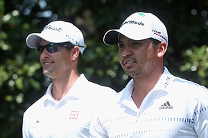Adam Scott and Jason Day during Sunday's final round of the 2014 Masters at Augusta National.