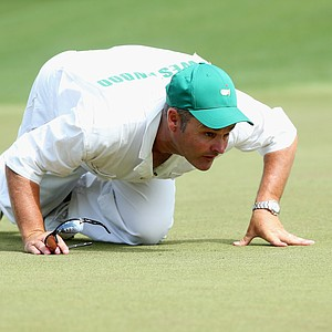 Billy Foster, Lee Westwood's caddie, during Sunday's final round of the 2014 Masters at Augusta National.