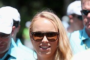 Caroline Wozniacki, fiancee of Rory McIlroy, during Sunday's final round of the 2014 Masters at Augusta National.