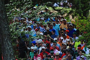 Patrons watch play on the sixth hole during Sunday's final round of the 2014 Masters at Augusta National.