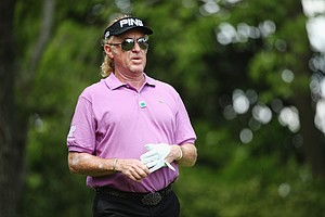 Miguel Angel Jimenez during Sunday's final round of the 2014 Master at Augusta National