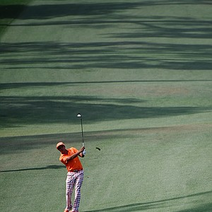 Rickie Fowler during Sunday's final round of the 2014 Masters at Augusta National.
