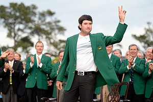 Best style of all? Bubba Watson in Oakley plus the green jacket after winning the 2014 Masters at Augusta National.