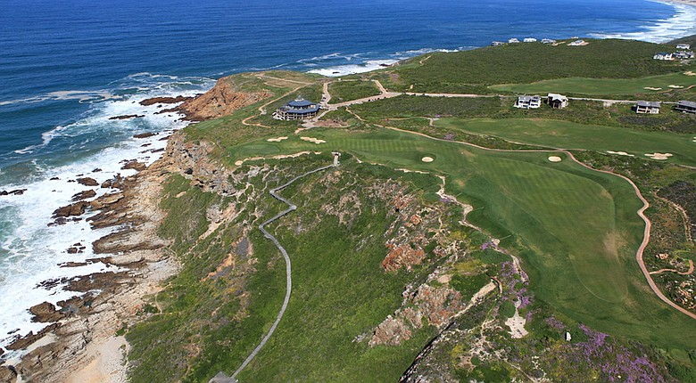 The 18th hole at Pinnacle Point sits high above the Indian Ocean in Mossel Bay, South Africa.