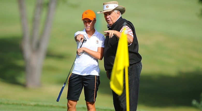 Campbell coach John Crooks with 2014 Big South player of the year Kaylin Yost.