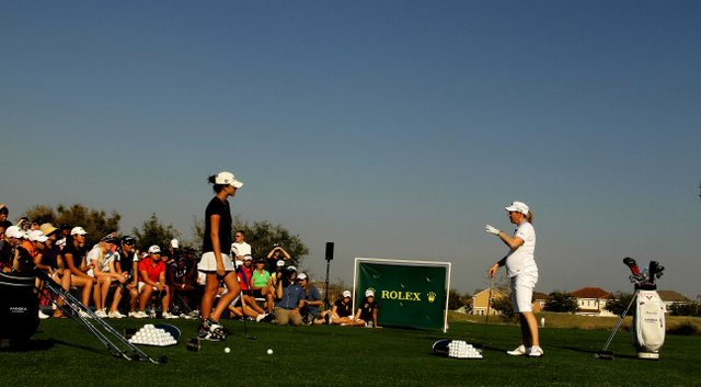 Jaye Marie Green hits balls in 2011 with Annika Sorenstam, who was 5 months pregnant at the time, during The Annika Clinic at the Annika Academy at Reunion Resort.