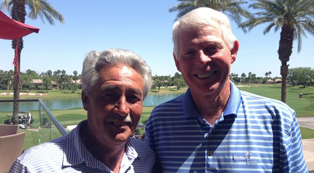 Ron Carter, left, and Ted Smith of Indiana during the 2014 Golfweek Senior Amateur -- in which each won his respective division.