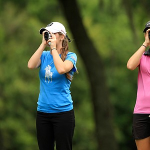 Ansley Bowman, left, and Kendall Griffin, right, look for yeardage on Saturday during AJGA's TaylorMade-Adidas Golf Junior at Innisbrook hosted by Sean O'Hair.