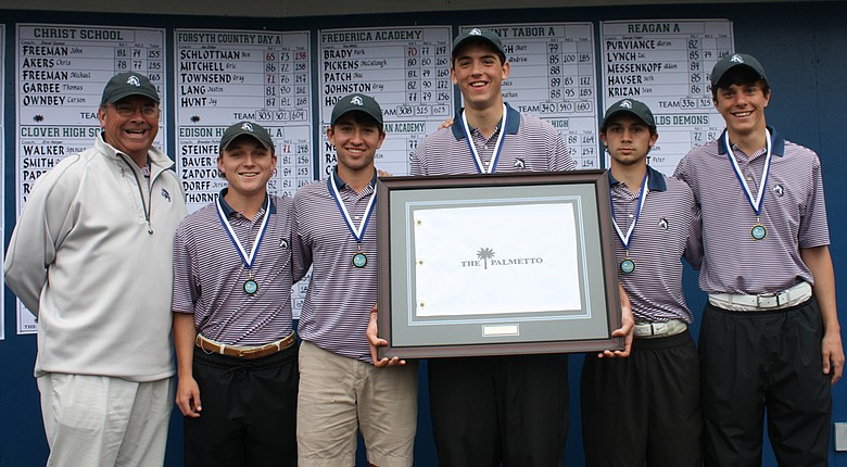 Forsyth Country Day School of Lewisville, N.C., won its second straight Palmetto High School Championship title March 19, while senior Ben Schlottman (third from left) took medalist honors for a second straight year.